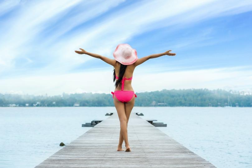 Woman Freedom Joy Up Arms Adult Feeling Beach